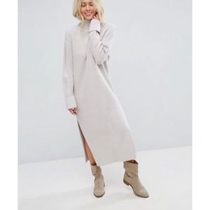 Maxi Grey Knitted Dress with Splits